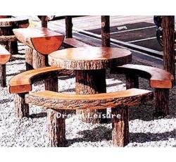 인조목 원형 테이블 & 벤치 세트